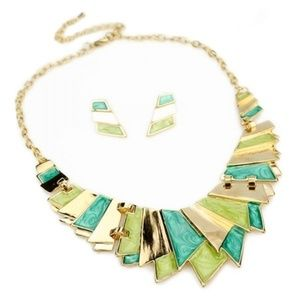 Jewelry - Asymmetrical Gold Bib Necklace and Earring Set